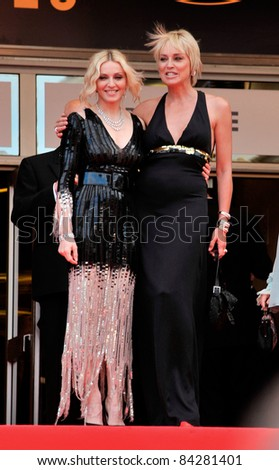 "Madonna (left) & Sharon Stone at the premiere of ""Che"" at the 61st Annual International Film Festival de Cannes. May 21, 2008  Cannes, France. Picture: Paul Smith / Featureflash - stock photo"