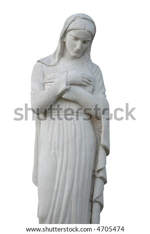 Madonna, Mother of God (statue made of stone) - stock photo