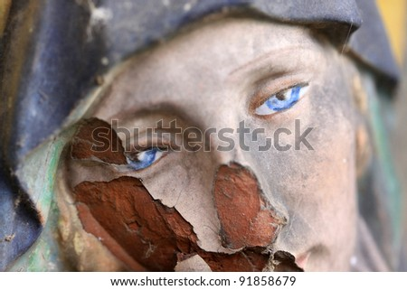Madonna with blue Eyes on the old Prague Cemetery, Czech republic - stock photo