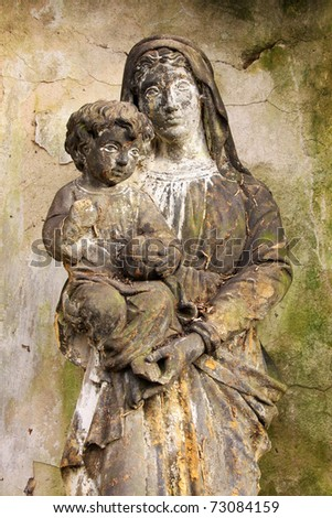 Madonna with her Child on the old Prague Cemetery - stock photo