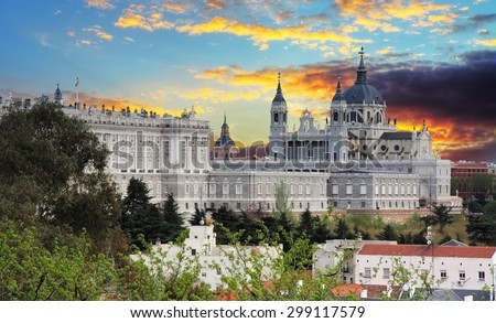 Madrid,  Almudena Cathedral and Royal Palace - Spain. - stock photo