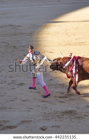 """Madrid - April 16, 2016: Spanish torero is performing a bullfight at the bullfight arena on April 16, 2016 in Madrid (Spain). """"Corrida"""" (bullfighting) of bulls is Spanish tradition. - stock photo"""