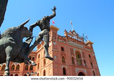 Madrid bullring Las Ventas Plaza Monumental with toreador statue - stock photo