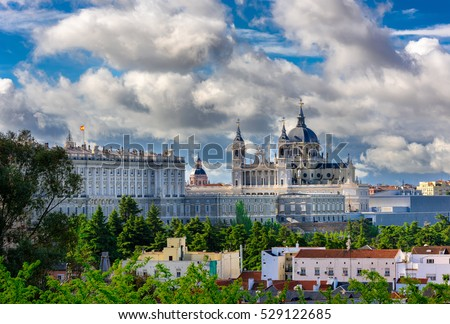 Madrid Cathedral Santa Maria la Real de La Almudena and the Royal Palace in Madrid, Spain. Architecture and landmark of Madrid, postcard of Madrid
