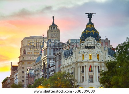Madrid city center architecture at a colorful sunset. Spain