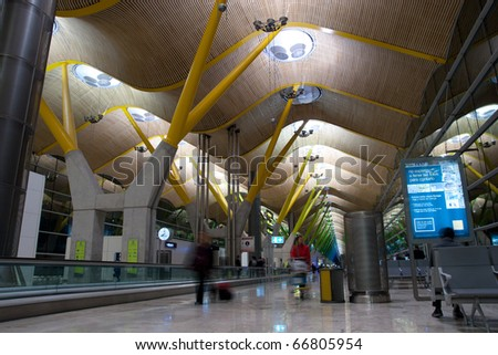 MADRID - DEC 6: Madrid airport re-opened after air traffic controllers ended their strike which had paralyzed Spain's air links. The Madrid Barajas Airport on December 6, 2010 in Madrid, Spain. - stock photo