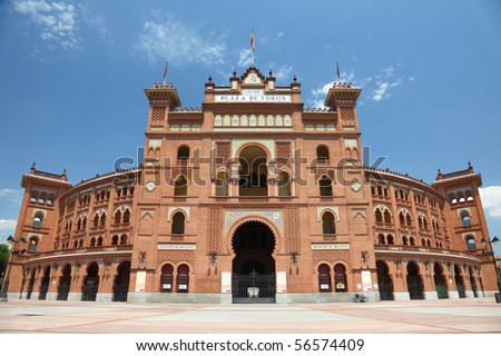 Madrid. Famous bullfighting arena in Madrid. Touristic attraction in Spain. - stock photo