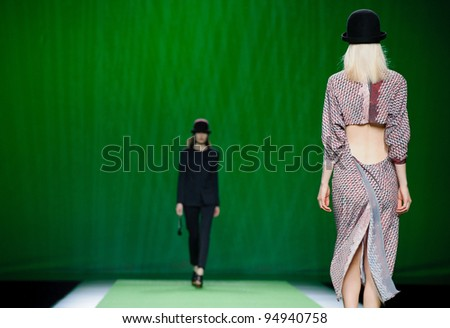 MADRID – FEBRUARY 04: A model walks on the Martin Lamothe catwalk during the Mercedes-Benz Fashion Week Madrid runway on February 04, 2012 in Madrid, Spain.