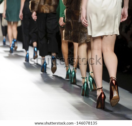 MADRID - FEBRUARY 18: Details of clothes on the Miguel Palacio catwalk during the Cibeles Madrid Fashion Week runway on February 18, 2013 in Madrid.  - stock photo