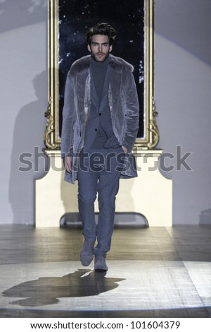 MADRID - FEBRUARY 1: Roberto Verino presents his fall-winter collection during the Mercedes Benz Madrid Fashion Week at the IFEMA on February 1, 2012 in Madrid, Spain.