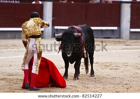 MADRID - JUNE 25: Novilladas in Las Ventas. Novillero: Emilio Huertas. Bulfighting has been prohibited in Catalunia since 2011 for animal torturing. June 25, 2011 in Madrid (Spain) - stock photo