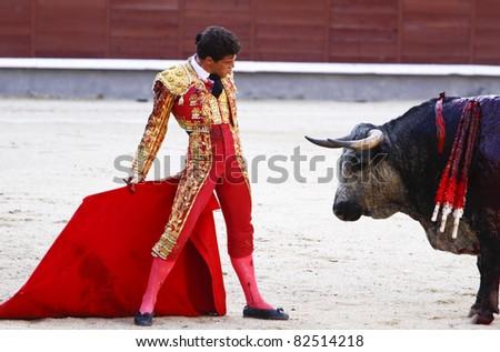 MADRID - JUNE 25: Novilladas in Las Ventas. Novillero: Francisco Montiel. Bulfighting has been prohibited in Catalunia since 2011 for animal torturing. June 25, 2011 in Madrid (Spain) - stock photo