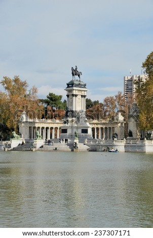 Madrid. King Alfonso Statue  in Retiro Park, Madrid, Spain