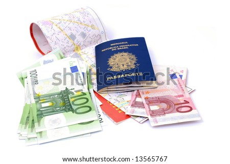 Madrid Map, Euros Currency and a Brazilian Passport