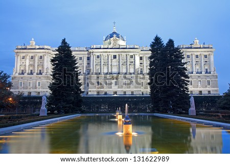MADRID - MARCH 10: Palacio Real or Royal palace from Sabatini gardens in dusk. Palace was constructed between years 1738 and 1755 in March 10, 2013 in Madrid.