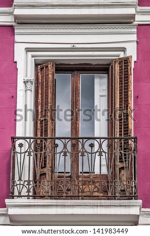Madrid, May 2012. Traditional balcony on downtown. - stock photo