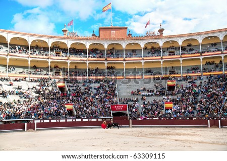 MADRID - OCTOBER 17: Bullfighter  fights for a sold out crowd at the Plaza del Toros de Las Ventas,  October 17, 2010 in Madrid, Spain. - stock photo