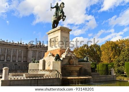 Madrid Plaza de Oriente, Statue of Felipe IV. Madrid, Spain - stock photo