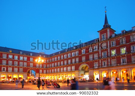 Madrid Plaza Mayor night lights typical square in Spain - stock photo