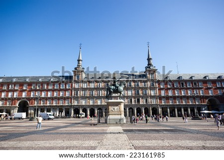 Madrid, Plaza Mayor with clear blue sky, no people. Spain - stock photo