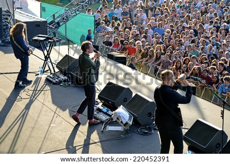 MADRID - SEP 13: Bombay Bicycle Club (band) concert at Dcode Festival on September 13, 2014 in Madrid, Spain. - stock photo