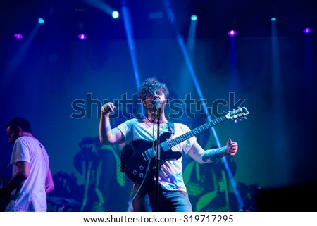 MADRID - SEP 12: Foals (band) in concert at Dcode Festival on September 12, 2015 in Madrid, Spain.