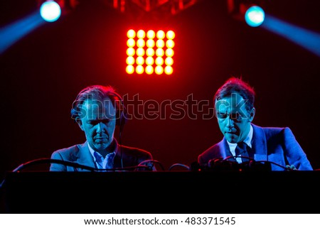 MADRID - SEP 10: 2manyDJS, electronic band also known as Soulwax, perform in concert at Dcode Music Festival on September 10, 2016 in Madrid, Spain.