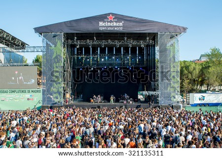 MADRID - SEP 12: Natalia Lafourcade (singer from Mexico) performs at Dcode Festival on September 12, 2015 in Madrid, Spain. - stock photo