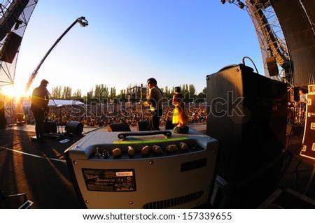 MADRID - SEPT 14: L.A. (Spanish band) concert at Dcode Festival on September 14, 2013 in Madrid, Spain. - stock photo