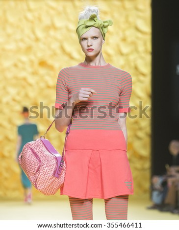 MADRID - SEPTEMBER 18: a model walks on the Agatha Ruiz de la Prada catwalk during the Mercedes-Benz Fashion Week Madrid Spring/Summer 2016 runway on September 18, 2015 in Madrid.  - stock photo