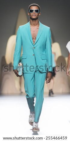 MADRID - SEPTEMBER 12: a model walks on the Ana Locking catwalk during the Mercedes-Benz Fashion Week Madrid Spring/Summer 2015 runway on September 12, 2014 in Madrid.  - stock photo