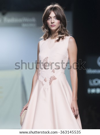 MADRID - SEPTEMBER 20: a model walks on the Luke Leandro Cano  catwalk during the Mercedes-Benz Fashion Week Madrid Spring/Summer 2016 runway on September 20, 2015 in Madrid.  - stock photo