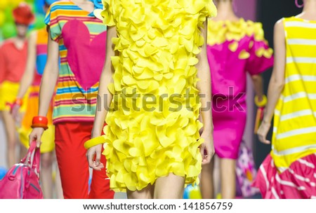 MADRID - SEPTEMBER 17: Details of clothing on the Agatha Ruiz de la Prada catwalk during the Cibeles Madrid Fashion Week runway on September 17, 2011 in Madrid, Spain. - stock photo