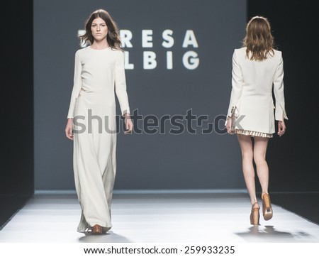 MADRID - SEPTEMBER 13: models walking on the Ailanto catwalk during the Mercedes-Benz Fashion Week Madrid Spring/Summer 2015 runway on September 13, 2014 in Madrid.  - stock photo