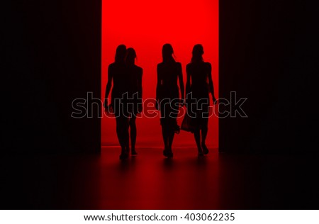 MADRID - SEPTEMBER 21: models walking on the Juan Vidal catwalk during the Mercedes-Benz Fashion Week Madrid Spring/Summer 2016 runway on September 21, 2015 in Madrid.  - stock photo