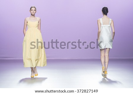 MADRID - SEPTEMBER 21: models walking on the 2nd Skin Co catwalk during the Mercedes-Benz Fashion Week Madrid Spring/Summer 2016 runway on September 21, 2015 in Madrid.  - stock photo
