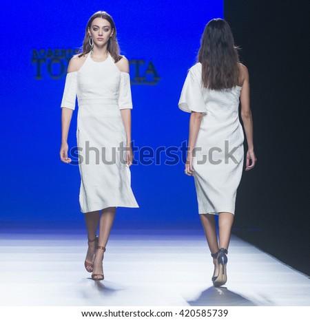 MADRID - SEPTEMBER 19: models walking on the Roberto Torretta catwalk during these Mercedes-Benz Fashion Week Madrid Spring/Summer 2016 runway on September 19, 2015 in Madrid.  - stock photo