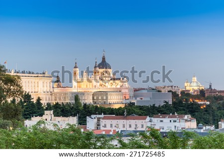 Madrid Skyline at dusk with the Royal Palace and the Almudena Cathedral
