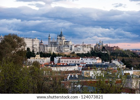 Madrid Skyline at sunset with the Royal Palace and the Almudena Cathedral, Spain