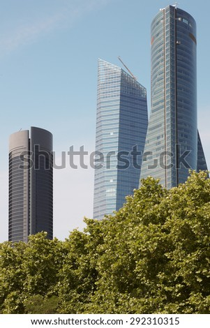 Madrid skyline finance area with three towers buildings. Spain. Vertical - stock photo