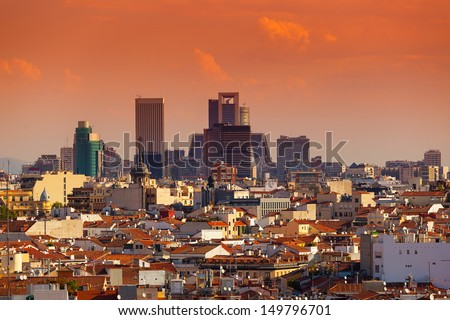 Madrid Skyline with skyscrapers at Sunset, spain - stock photo