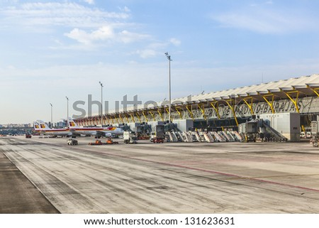 Madrid spain apr 1 aircraft park at terminal 4 at barajay airport