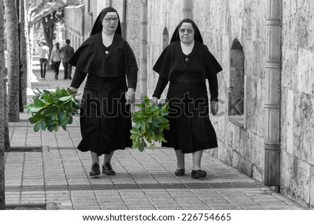 MADRID,SPAIN - APRIL 4:Nuns walking down the street prepared the Feast of Palm Sunday April 4, 2014 in Madrid Spain - stock photo