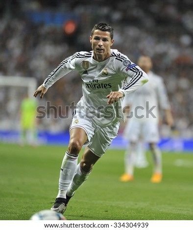 MADRID, SPAIN - April 22th, 2015 :  CRISTIANO RONALDO of REAL MADRID in action during Europe Champions League match vs ATLETICO DE MADRID at Santiago Bernabeu Stadium  - stock photo