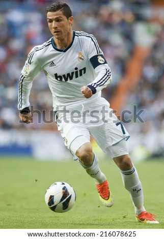 MADRID, SPAIN - April 20th, 2013 :  Portuguese CRISTIANO RONALDO of REAL MADRID in action during La Liga match at Santiago Bernabeu Stadium.  - stock photo