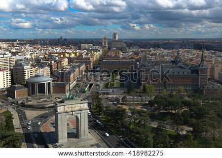 MADRID, SPAIN - APRIL 30,2016: View of the Arch of Victory and the Moncloa Lighthouse  in Madrid, Spain.