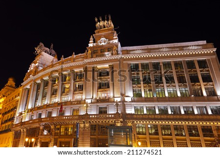 Madrid Spain at night - architecture background - stock photo