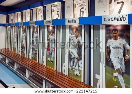 MADRID, SPAIN-AUGUST 18: Clothing locker of the football players in Santiago Bernabeu Stadium. - stock photo
