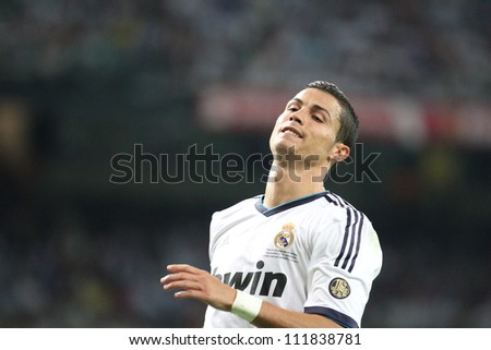 MADRID, SPAIN - AUGUST 29: Cristiano Ronaldo during the Supercopa, Real Madrid vs FC Barcelona, on August 29, 2012 at the Santiago Bernabeu Stadium. - stock photo