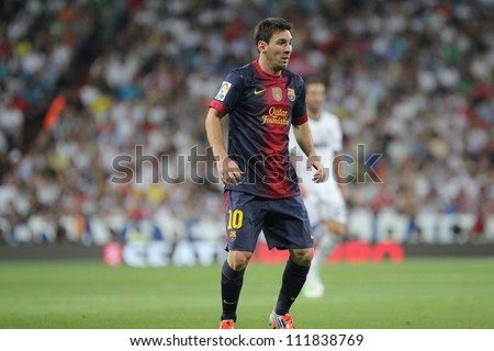 MADRID, SPAIN - AUGUST 29: Leo Messi during the Supercopa, Real Madrid vs FC Barcelona, on August 29, 2012 at the Santiago Bernabeu Stadium. - stock photo